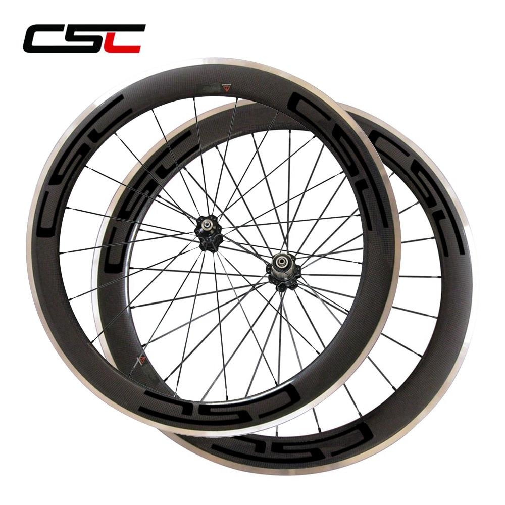 CSC 23mm 60mm clincher carbon bike wheels with Alloy brake track with novatec hub sapim cx