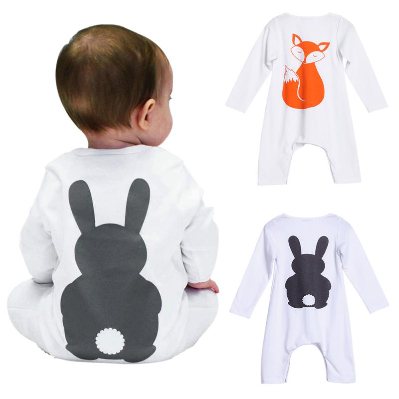 Newborn Baby Infant Boys Girls Animals behind the printed fox Romper Jumpsuit Bodysuit Outfits Clothes N88 puseky 2017 infant romper baby boys girls jumpsuit newborn bebe clothing hooded toddler baby clothes cute panda romper costumes