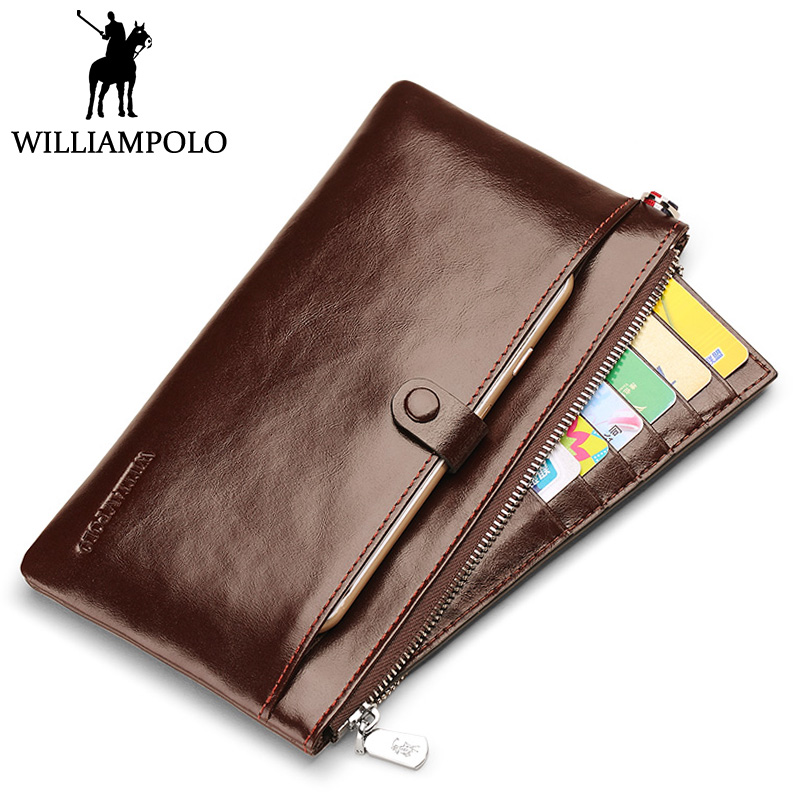 WILLIAMPOLO Vintage Leather Clutch Wallet Men Phone Holder Genuine Leather Credit Card Holder Fashion Handy Male Purse Phone Bag new men genuine wallet fashion casual pu credit id card holder purse wallet long business male clutch hot selling 2016