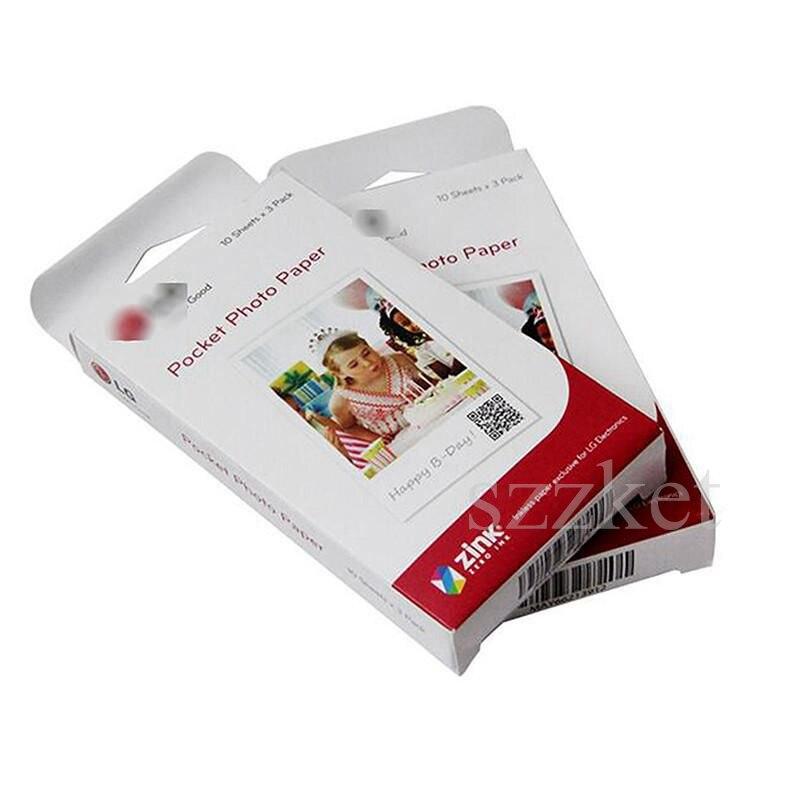 Vendas especiais 60 folhas (2 caixa) fotográfico zink ps2203 inteligente impressora móvel para lg pd269 pd251 pd261 pd233 pd239 papel de foto