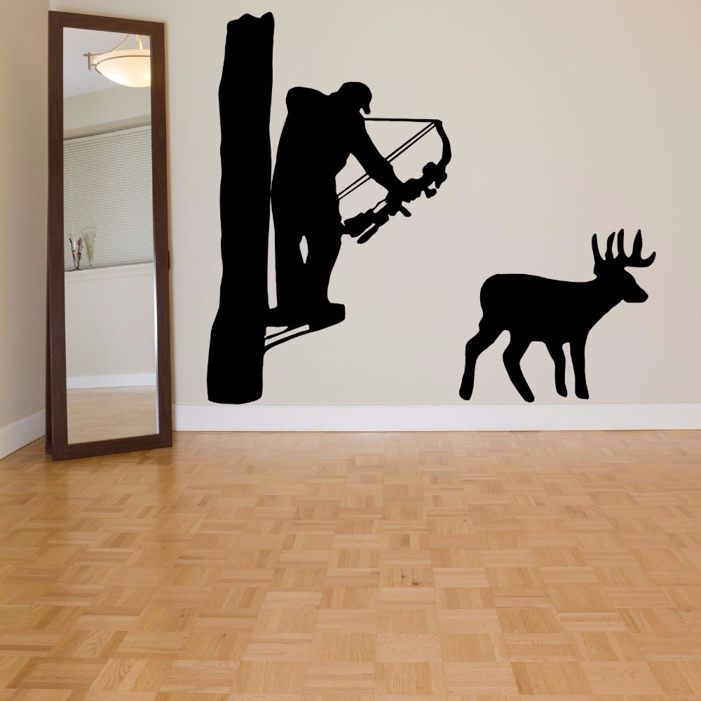 compare prices on bow wall decal online shopping buy low price hunter vinyl wall decal hunter man hunting deer bow mural art wall sticker living room bedroom
