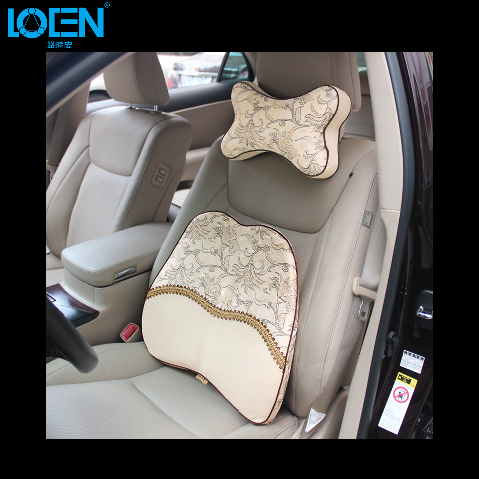 1 set car seat supports lumbar pillow headrest car lumbar cushion with memory foam neck pillow