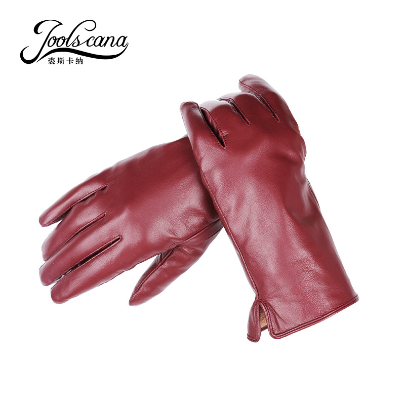 Joolscana kožené rukavice dámské módní zápěstí zimní podzim vyrobené z italského dovozu originální ovčí rukavice mitten 2017 nové