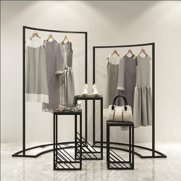 Clothing store display rack in the island display cabinet women's shop horizontal bar iron art
