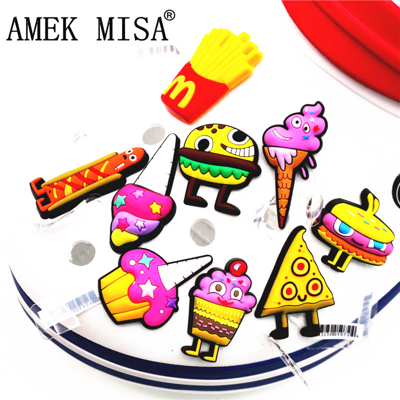 High Imitation 1Pcs Shoe Croc Charms Accessories  Cute Funny McDonld Food Monster Shoe Decoration for jibz Kid's Party X-mas