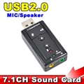 Mini 7.1 CH Channel USB Sound Card Mic Speaker 3D External Sound Cards Adapter for Desktop Notebook