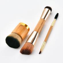 купить!  GUJHUI Деревянная Ручка Двусторонняя 3шт. Набор кистей для макияжа. Кисть для бровей. Угловая основа
