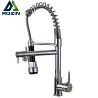 Solid Brass Spring Pull Out Kitchen Faucet With Two Spouts Handheld Shower Chrome Finish Mixer Tap