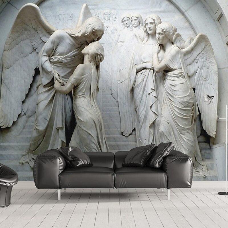 Custom 3D Wallpaper Murals Classic European Angel 3D Embossed Non-woven Wallpaper Wall Painting Living Room Bedroom Decoration