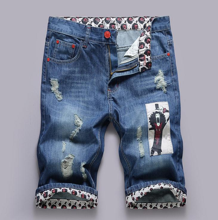 HOT 2017 Indoor Summer Europe Hole Men's Printing Cowboy Hip Hop Patch Ripped Hole Jeans Short Trousers Knee Length Demin