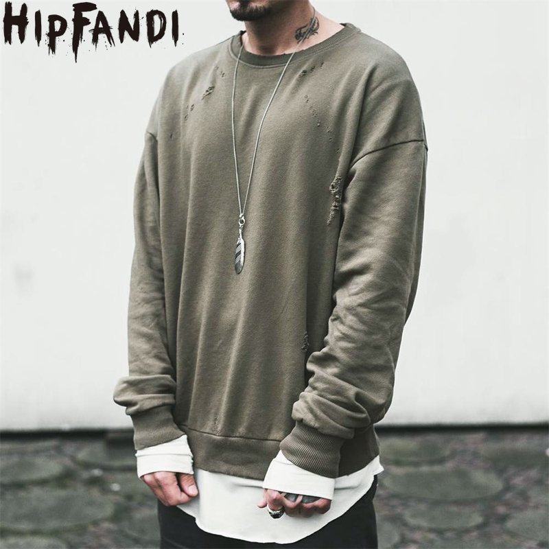 HIPFANDI Men Streetwear Drake Kanye Season Pullover Men Sweat Green Ripped Oversized Mens Crew Neck Sweatshirt Clothing