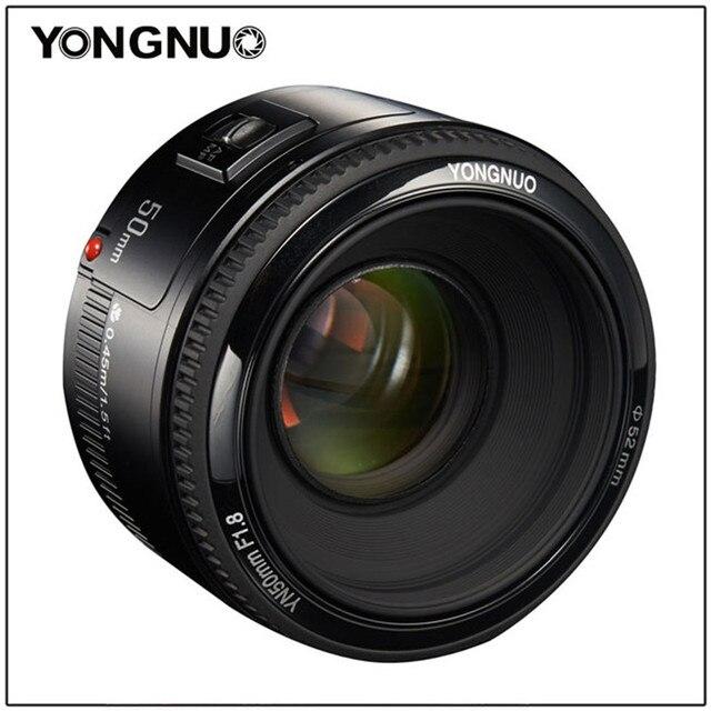 US $48 75 22% OFF|YONGNUO 50mm YN50MM F1 8 large aperture auto focus lens  EF AF/MF For Canon EOS 600D 550D 70D 700D 750D 1100D 1200D 1300D 200D-in