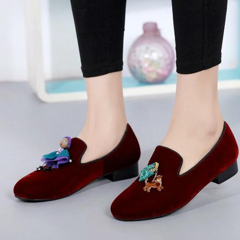 ФОТО 2017 Spring Newest Sweet Flock Flat Shoes For Women Cute Dog Girl Decor High Quality Slip On Burgundy Comfortable Driving Shoes