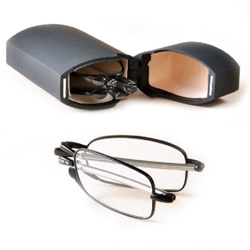 1 StÜck Mini Design Lesebrille Männer Frauen Kleine Folding Brille Rahmen Schwarz Metall Brillen Mit Ursprünglichem Kasten