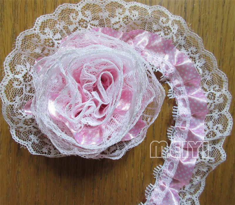 10 yards Rosa strati Pieghettato Organza Del Merletto Del Tessuto Bordo Trim Nastro Handmade FAI DA TE Wedding Dress Bridal Mestiere di Cucito Decorazione