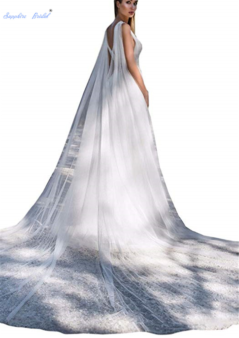 Sapphire Bridal Women's Elegant 3m/4m White/ivory Wedding Cape Tulle Long Train Bridal Shawl Wrap Cloak