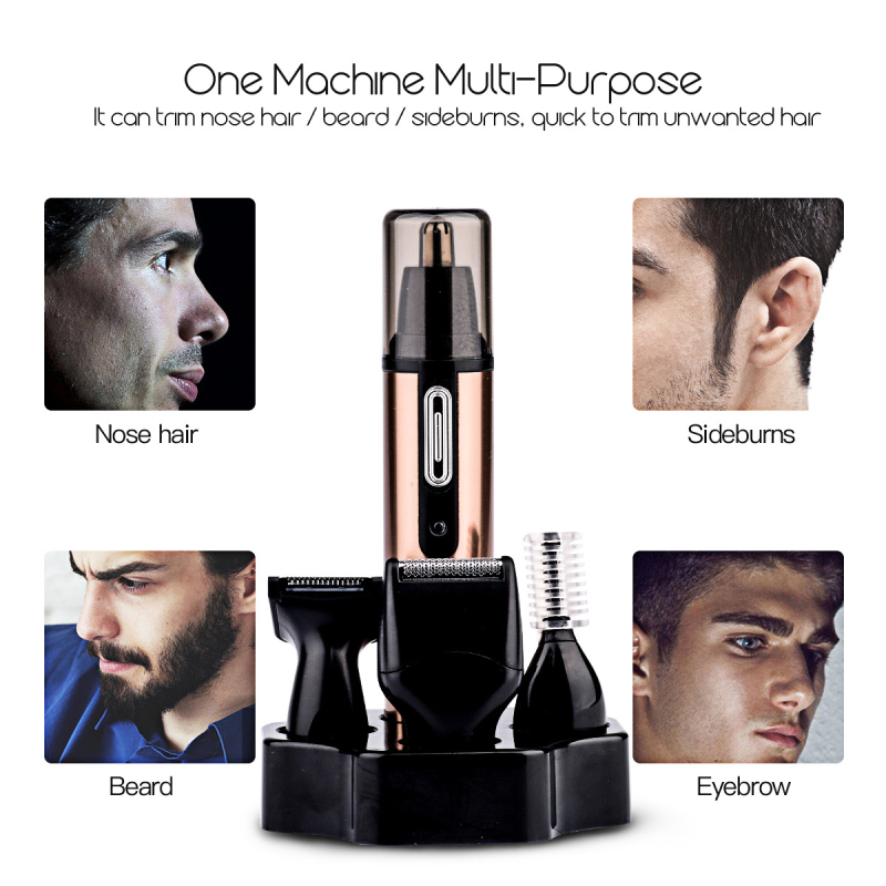 4 In1 Rechargable Ear Nose Trimmer Electric Shaver Razor Beard Face Eyebrows Nose Ear Hair Trimmer Clipper Hair Removal Shaver