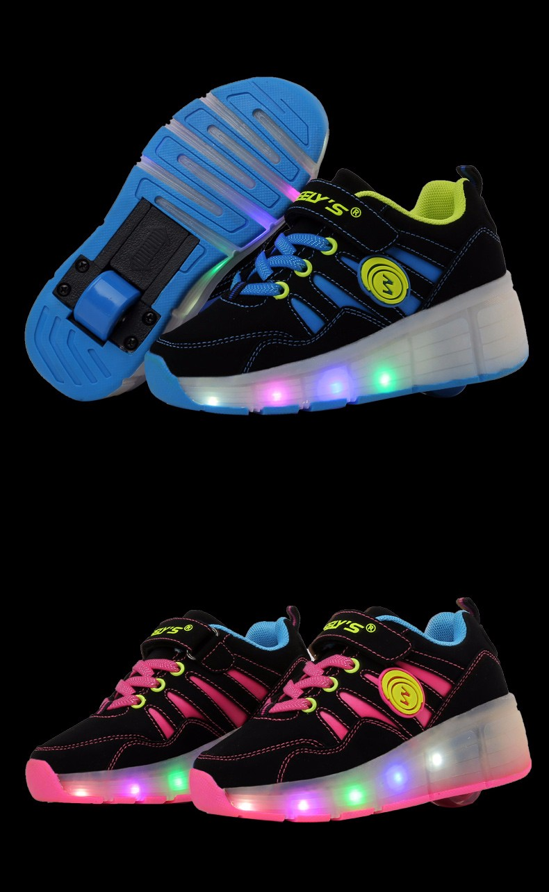 High Quality Cheap Boys LED Sneakers With Wheels Kids Light Up Shoes Girls Roller Skates tenis de rodinha12
