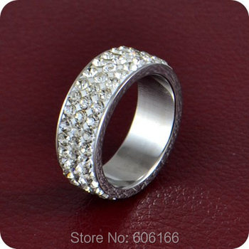 9pc 3 row CZ Cubic Zirconia Engagement Wedding Ring Enragement Ring Stainless Steel Rings Luxurious TOP Quality Fashion Jewelry image