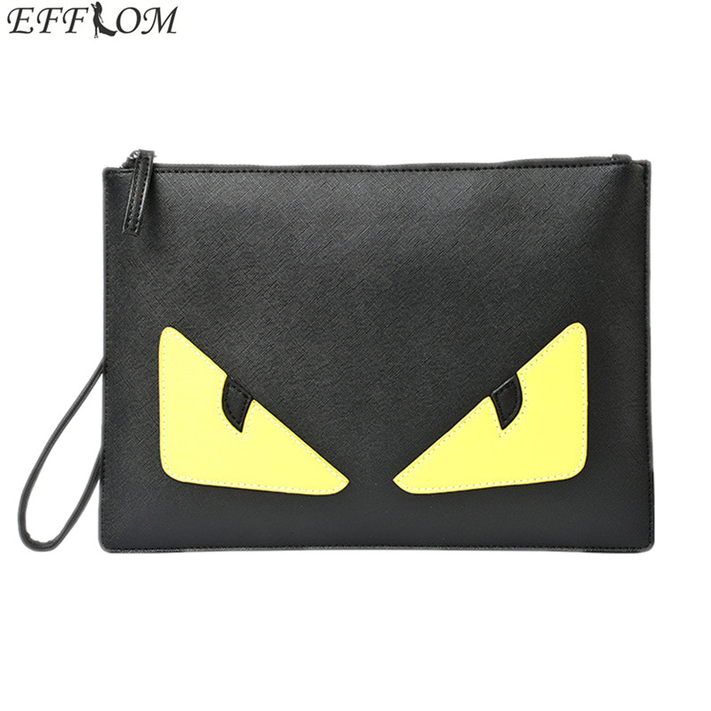 Brand Men Bag Shoulder Messenger Bags PU Leather Male Handbag Leisure Monster Eyes Day Clutches Envelope Women Clutch Bag Black aerlis brand men handbag canvas pu leather satchel messenger sling bag versatile male casual crossbody shoulder school bags 4390