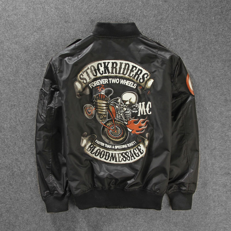New Stockriders Motorcycle Luxury Bomber   Trench   Jackets Men Big Size Baseball Skull Jacket Men Pilot Windbreaker Jackets M-3XL
