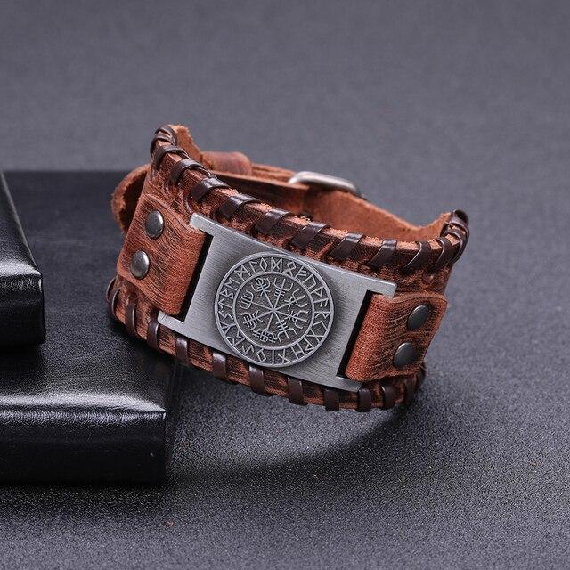 Skyrim Vintage Viking Compass Genuine Leather Bracelet for Man Bangle Nordic Runes Odin Symbol Wrap Jewelry Accessories 3