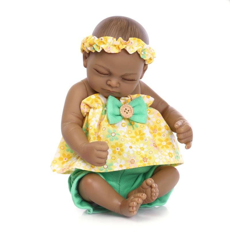 Silicone Reborn Baby Mini Doll Lifelike 25cm Black Skin