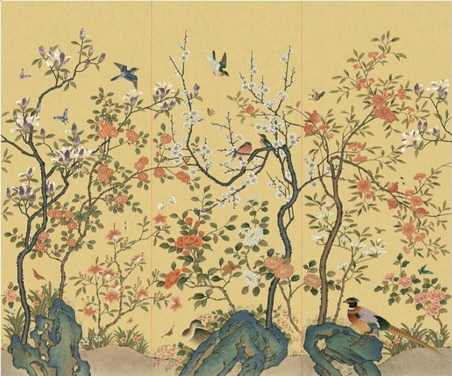 Modern Hand Painted Silk Wallpaper Painting Peony Flowers With Birds HAND PAINTED WALL PAPER Wallcovering