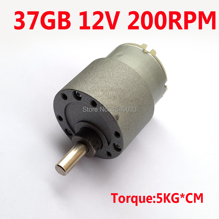все цены на Free Shipping NEW 200RPM DC 12V motor high torque gear box motor gearmotors 37MM CNC motor Torque 5KG*CM DC 24V 6V онлайн