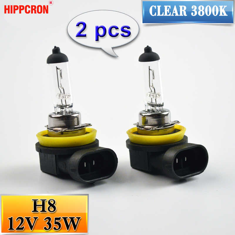hippcron H8 Halogen Bulbs 12V 35W  2 PCS Clear 3800K Quartz Glass Car HeadLights Auto Lamps