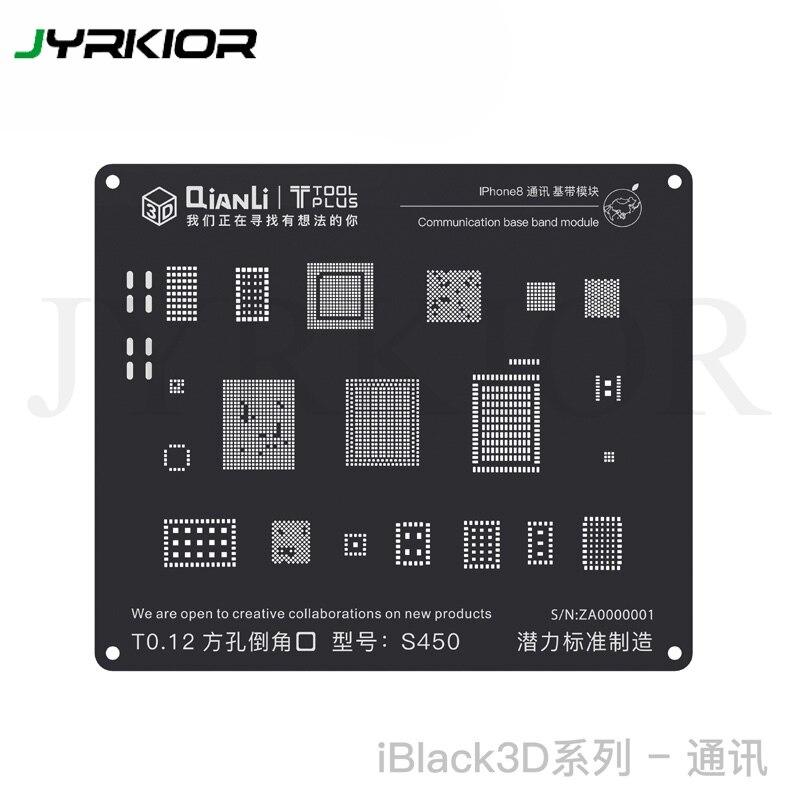 Jyrkior qianli 3d comunicação baseband módulo planta estanho malha bga reballing preto stencil modelo para iphone 8 p/8/7/7 p/6 s/6/5S