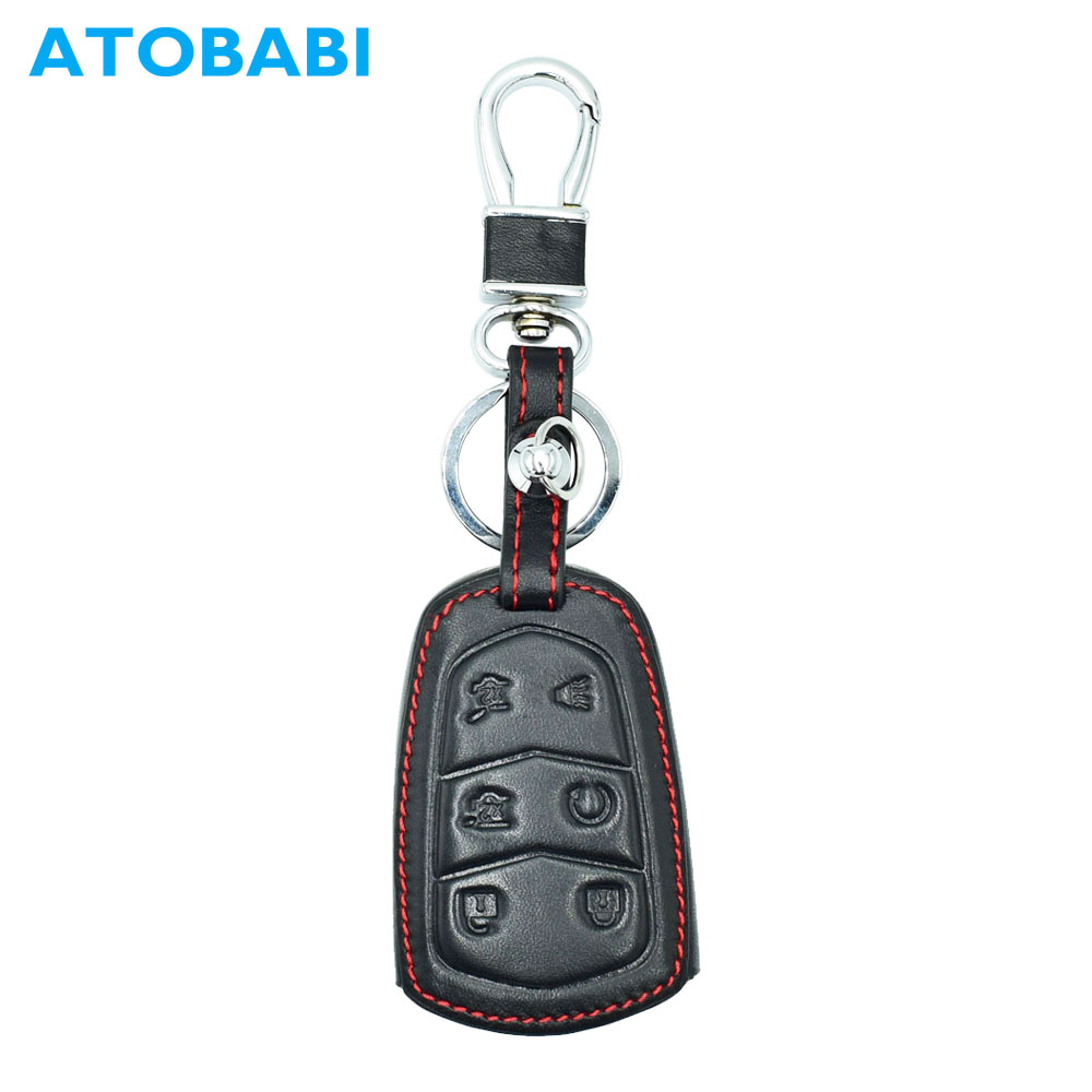 Atobabi Leather Car Key Case Keychain Fit For Cadillac Escalade Esv Xts Ats Cts Srx 6bt Auto Smart Remote Fob Cover Protector