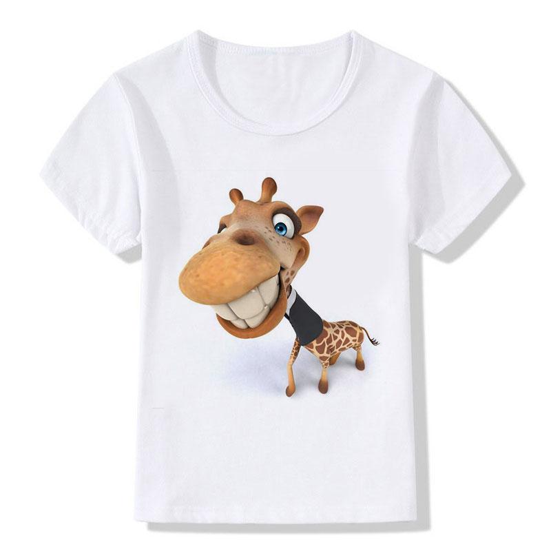 Kinderen Tops Tees Cartoon Grappige Big Head Giraffe met zwarte - Kinderkleding - Foto 6