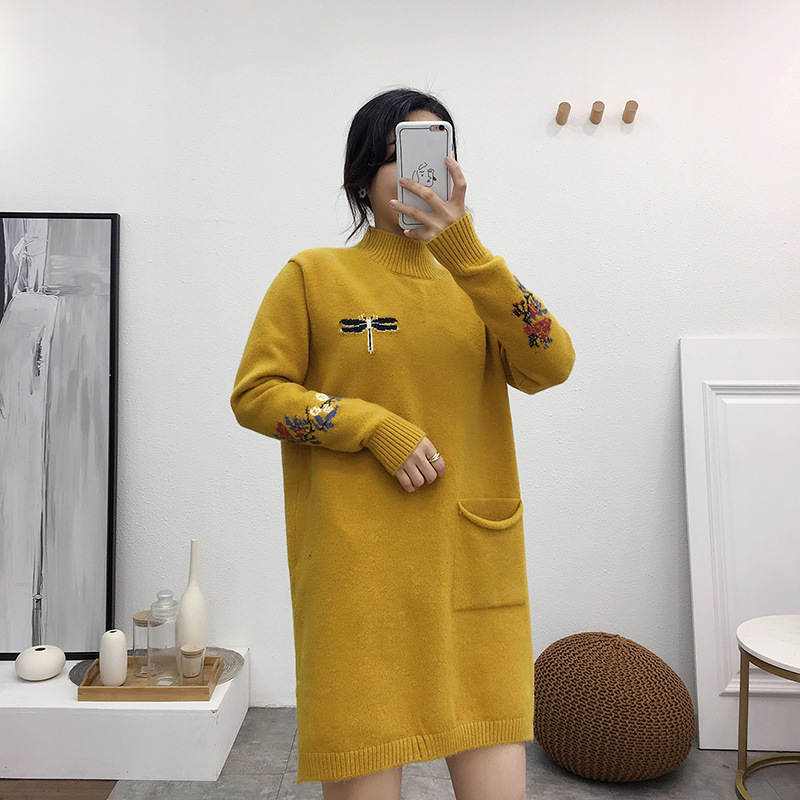 Maternity Women Hoodless Turtleneck Long Sleeve Blouse New Moms Loose Embroidery Knitting Pullover Fashion Mid-long SweatersMaternity Women Hoodless Turtleneck Long Sleeve Blouse New Moms Loose Embroidery Knitting Pullover Fashion Mid-long Sweaters