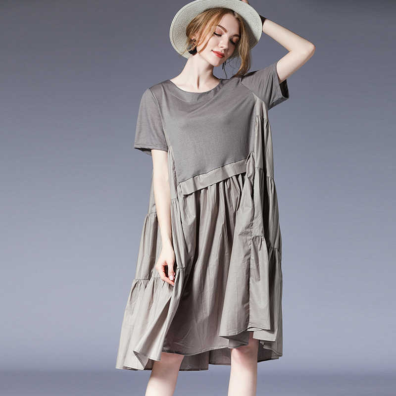 5de5ca9bccf ... Women Plus size dresses casual loose Gauffer Elegant dress Large size  ladies  crew neck high ...