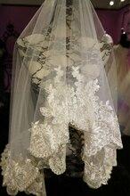 Em estoque de alta qualidade frete grátis atacado / varejo branco marfim uma camada Lace borda curta véu de noiva casamento acessórios