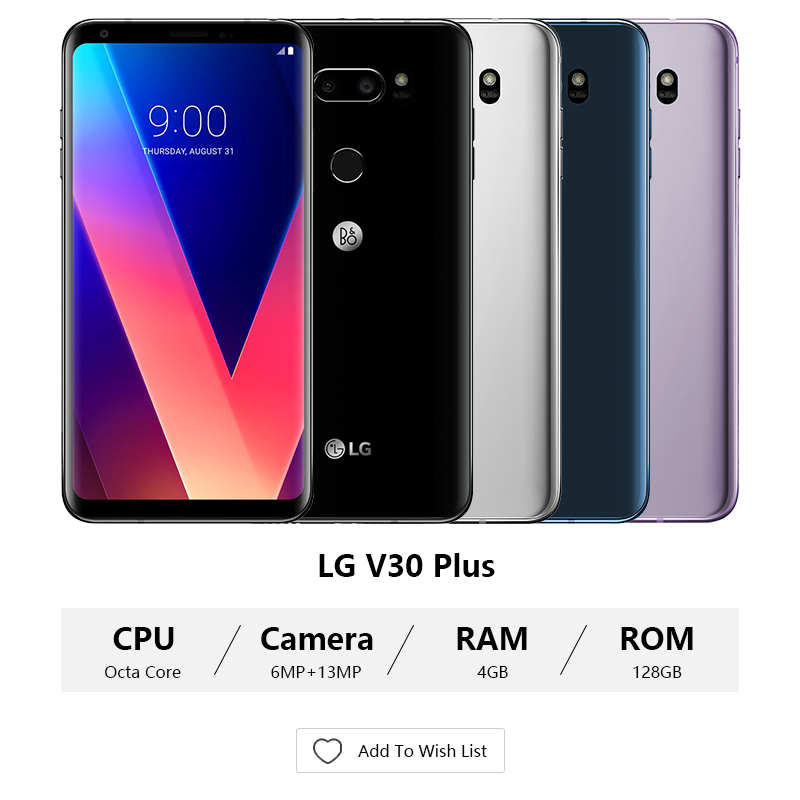 Image 3 - Unlocked LG V30 plus mobile phone V30+ 4GB RAM 128GB ROM Octa Core Dual Sim 6.0''  13MP&16MP Camera 4G LTE SmartPhone 3300mAh-in Cellphones from Cellphones & Telecommunications