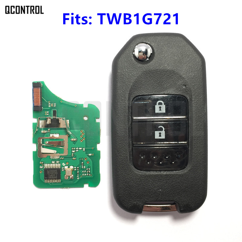 купить QCONTROL 2 Buttons Remote Car Key TWB1G721 for Honda Civic Accord City CR-V Fit Jazz XR-V Vezel HR-V FRV 433MHz with ID47 по цене 891.45 рублей