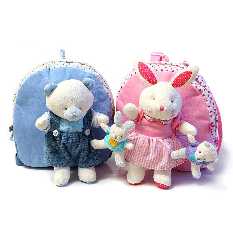 Enfants bébé sacs animaux dessin animé poupée jouet enfants sac à bandoulière lapin fille ours en peluche sacs à dos