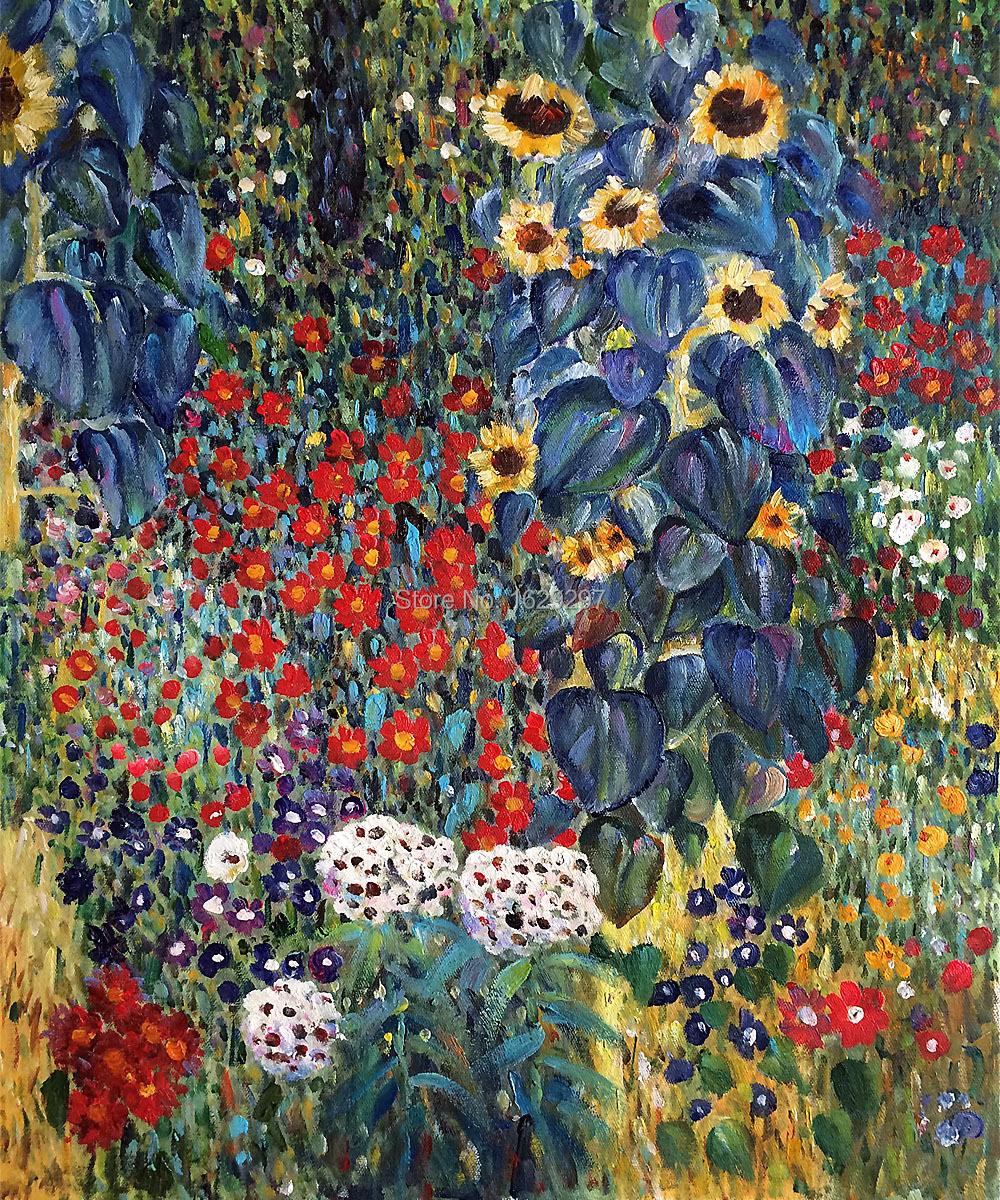 Klimt Fiori Us 58 5 22 Off High Quality Gustav Klimt Oil Painting Reproduction Farm Garden With Sunflowers Canvas Art Hand Painted Room Decor In Painting