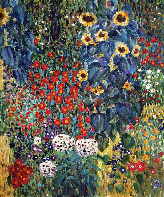 High Quality Gustav Klimt Oil Painting Reproduction Farm Garden With Sunflowers Canvas Art Hand Painted Room Decor