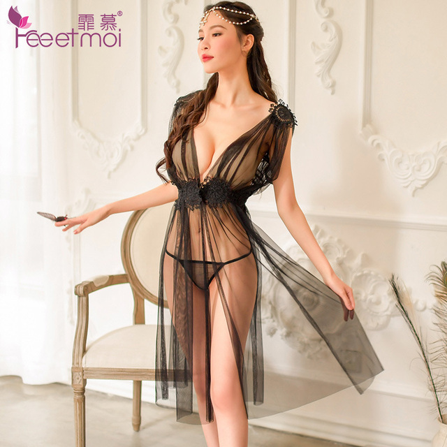Sexy Transparent Deep V-Neck Straps Split Sexy Dress