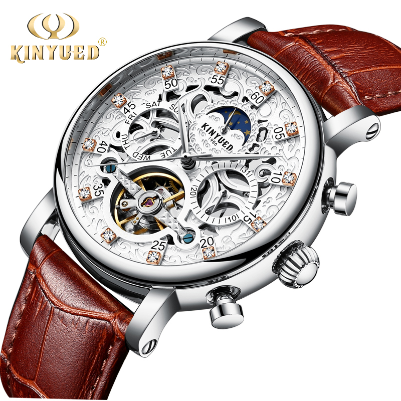 KINYUED Skeleton Automatic Mechanical Watches Men Waterproof Sun Moon Phase Tourbillon Mens Watch Leather Strap Man Wristwatch free shipping time100 top brand sun moon phase taichi pattern genuine leather strap skeleton automatic mechanical watches clock
