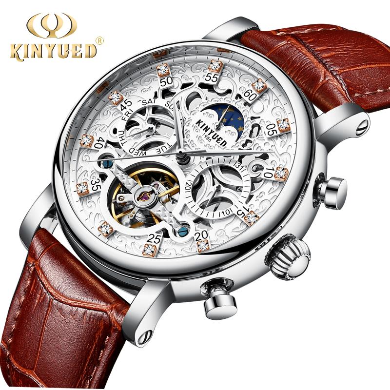 b0d1150a4aa KINYUED Esqueleto Relógio Automático Homens Sun Moon Phase Turbilhão Dos Homens  Mecânicos Relógios Top Marca de Luxo relógios de Pulso À Prova D  Água