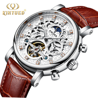 KINYUED Skeleton Automatic Watch Men Sun Moon Phase Waterproof Mens Tourbillon Mechanical Watches Top Brand Luxury Wristwatches