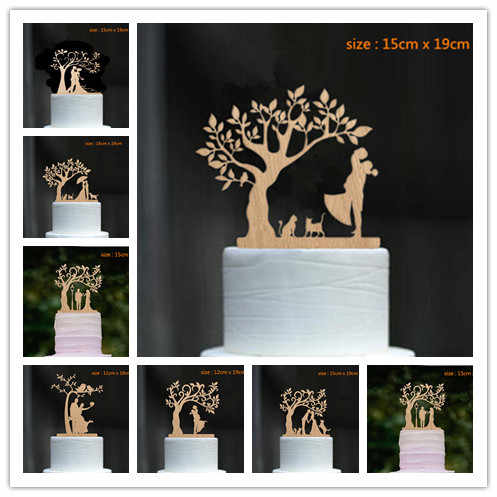 Mixed Style wood cake topper dancing Bride and Groom Under The Tree with Dog and Cat  Wedding  Cake Topper Cake Decoration