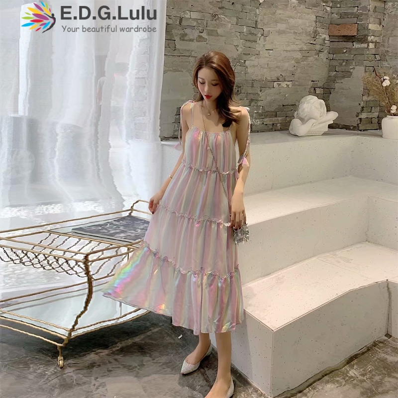 EDGLulu rainbow dressoff shoulder summer <font><b>dress</b></font> 2019 runway fashion party midi new arrival slip <font><b>dress</b></font> image