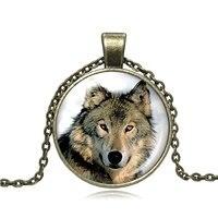 LEO BON Glas Cabochon Halskette Kühlen Wolf Paar Wolf Schmuck Loyalität Wölfe Handgefertigte Glaskuppel Anhänger Schmuck