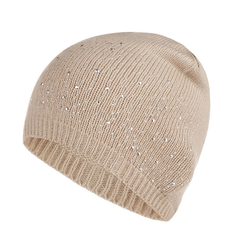 Winter Autumn   Beanie   Hats Women Soft Knitting   Skullies     Beanies   Hat Female Fashion Rhinestone Cotton Hat Cap