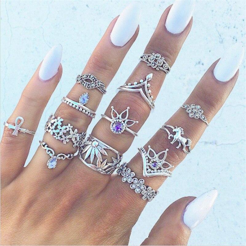 13Pieces/Set  Blue Crystal Female Ring Set Unique Carved Vintage Punk Antique Beach Engagement Ring Women Jewelry Accessories